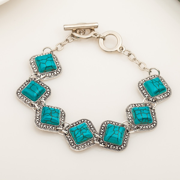 Newest Classic Square Green Turquoise Bracelet Women Vintage Jewelry Trendy Silver Color Chain Link Bracelets Good Quality
