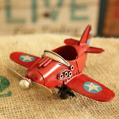 Europe Ace of Aces Red/Blue/White/Yellow Iron Fighter Model Retro Small Plane Desk Decoration for Boy Gift DEC098