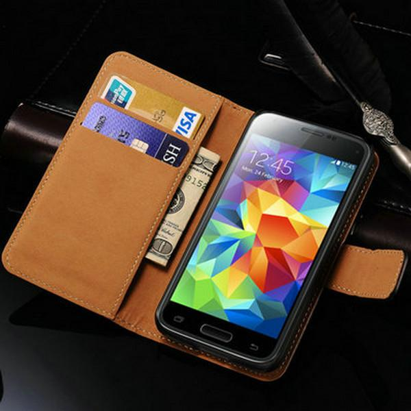 Wholesale-Leather Wallet Flip Case For  Galaxy S5 mini  Phone Cover With Stand Display 2 Card Holders Coque Black For S5 Mini