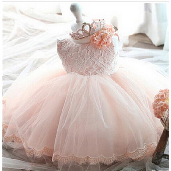 Compre Vestidos De Princesa Flor De Tul Para Niñas Princesa Vestido De Novia Para Niña Pequeña Y Con Encaje Volver Arco Vestido De Falda De Tutú A