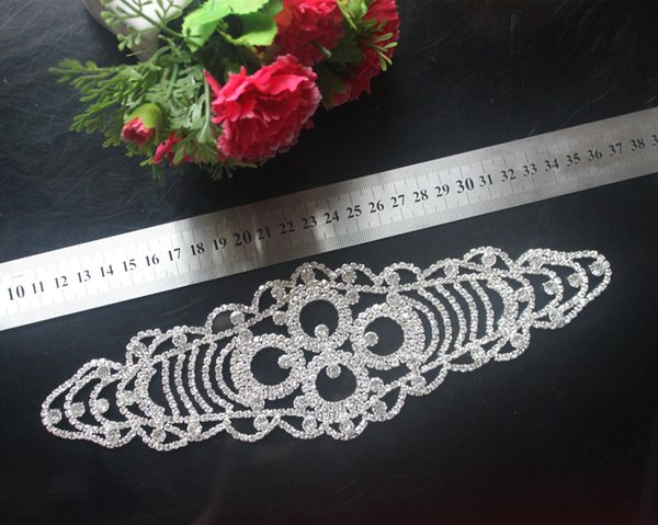 1pcs strass trim nozze da sposa sew on abito applique argento strass di cristallo cintura sash cintura decorazione di cerimonia nuziale