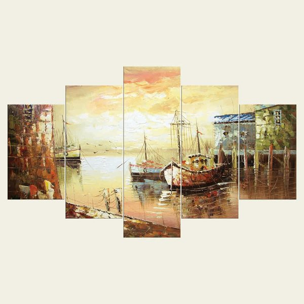(No frame) Ships three series HD Canvas print 5 Panel Wall Art Oil Painting Textured Abstract Pictures Decor Living Room Decoration