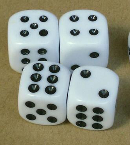 16mm Black Point Dice 6 Sided Ordinary Dices Children Educational Toy Casino Craps Drinking Game Accessories Family Party Playing Boson #N29