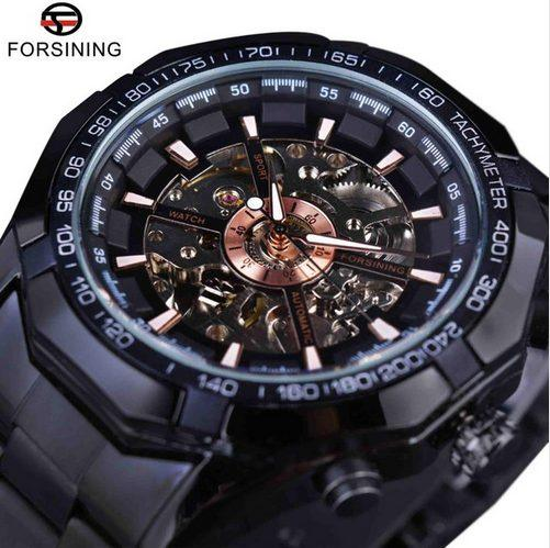 Forsining Mens Watches Top Brand Luxury Black Men Automatic Mechanical Skeleton Watch Mens Sport Watch Designer Fashion Casual Clock Men+Box