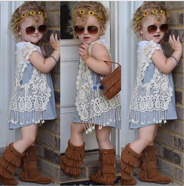 5pcs/lot!children clothing 2016 summer girls crochet lace hollow tassel vest cardigan jacket outfits baby fringed tops for 1-5Y kids clothes