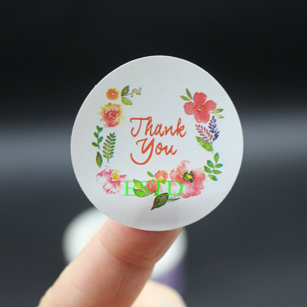best selling 500pcs Flowers with thank you 3.5cm Label Sealing Sticker Favour Gift