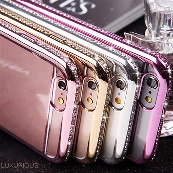 Cajas del teléfono celular de lujo del diseño Cubiertas ultra finas del teléfono de Bling Rhinestone para el iphone 6S 6Plus 5s 52