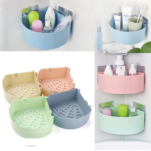 Plastic Suction Cup Bathroom Kitchen Corner Storage Rack Organizer Shower Shelf Wholesale Free Shipping 30RH31