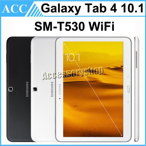 top popular Refurbished Original Samsung Galaxy Tab 4 10.1 SM-T530 T530 10.1 inch Wifi 16GB ROM Quad Core 3.0MP Camera Android Tablet PC Black and White 2020