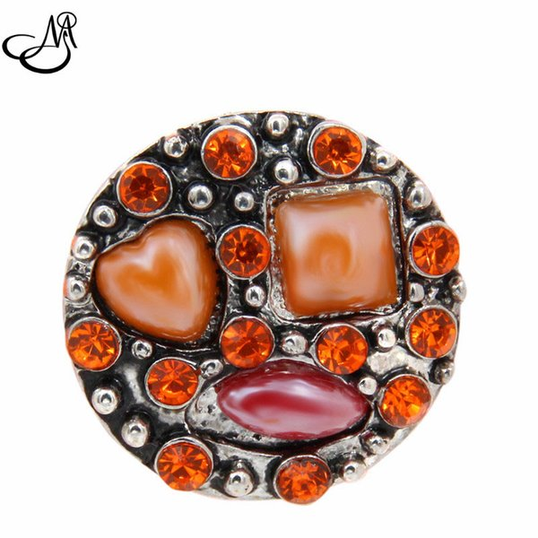 12pcs/lot Free shipping wholesale 18mm button snap jewelry crystal ginger snap button charm fit leather bracelets MIJ522