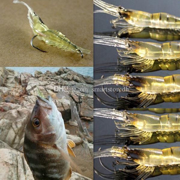 5 Pcs Shrimp Simulation Soft Prawn Lure Hook Tackle Bait Fishing Lures F00342 CADR