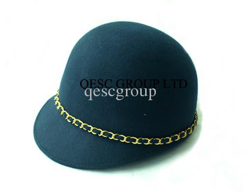 Navy blue 100% WOOL FELT HAT with gold metal chain for races/daily life/church.