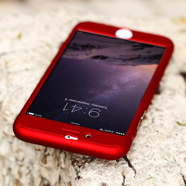 Funda mayorista-Floveme para iPhone 6 6s / 6SPlus Lujo Frente Detrás 360 Protección completa híbrida Piel dura + Cristal templado para iphone 6s Plus
