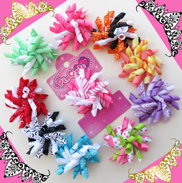Wholesale-Hand 32pcs 2.5 Inch Corker /korker Hair Bow ClipBLESSING Girl Hair Accessories Baby Rolls of ribbon attached on alligator clip