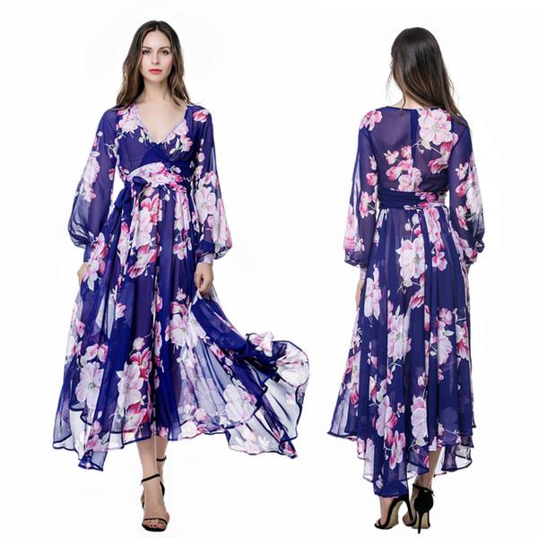 Elegant Chiffon Long sleeve Beach Holiday Bohemia Maxi Dress Plus size L-4XL