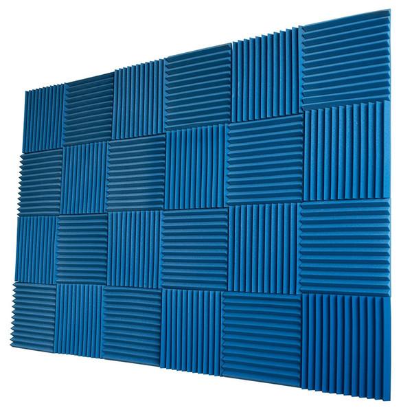 "best selling 24 Pieces -Blue Acoustic Panels Studio Wedges Acoustic Foam Soundproof Absorption Recording Studio 1"" X 12"" X 12"""
