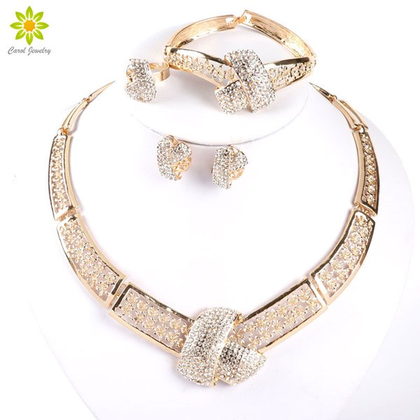 African Costume 18K Gold Plated Crystal Necklace Bracelet Ring Earrings Wedding Women Bridal Accessories Dubai African Beads Jewelry Set