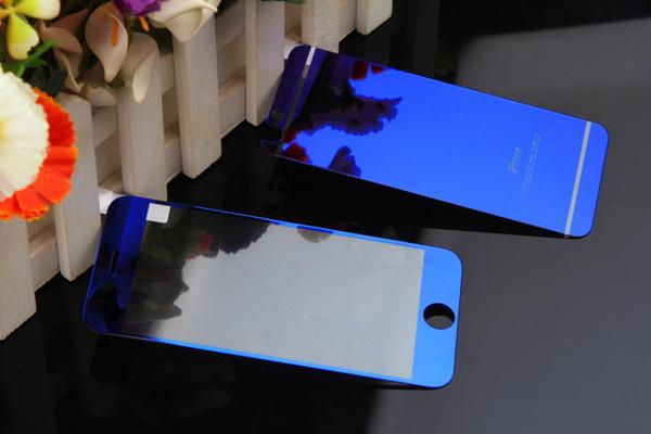 Coloré Miroir En Verre Trempé Pour iPhone7 7plus 6s 6plus 5s Avant Plus Arrière Premium Miroir Protecteur D'écran En Verre Trempé