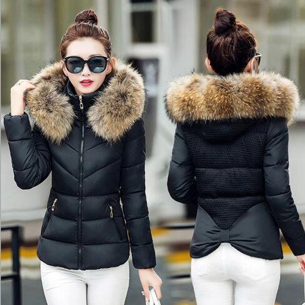 2016 Women Winter Jacket Fake Fur Collar Parka Thick Snow Wear Coat Lady Clothing Female Jackets Girls Parkas Free Shipping