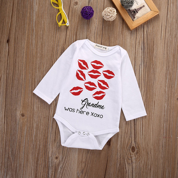 Newborn Toddler Baby Boys Girls Cotton Romper red lips xoxo funny printing kids boy girl Jumpsuit Bodysuit children Clothes top Outfit