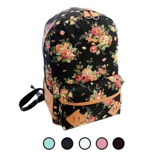 4574adb9e64e Students Travel Oversize Flower Printed Canvas Book Satchel Backpack ...