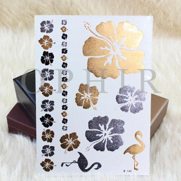 2016 OPHIR Temporary Flash Tattoo Golden Silver Flower Cranes Pattern Metallic Gold Tattoos for Body Art Paint Stickers_MT027