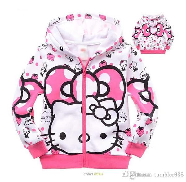 Bebek kız ve erkek ceket çocuklar hoodies çocuk mont çocuklar saf pamuk karikatür Kitty kedi mont 2016 yeni stil sonbahar kış mont.