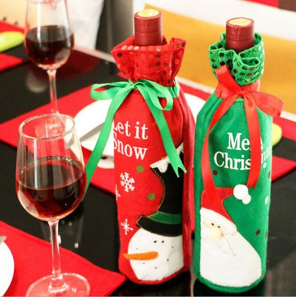 Christmas Santa Claus Red Wine Bottle Cover Bags Champagne Wine Bottle Sets Xmas dinner supply drop ship sale HJIA880