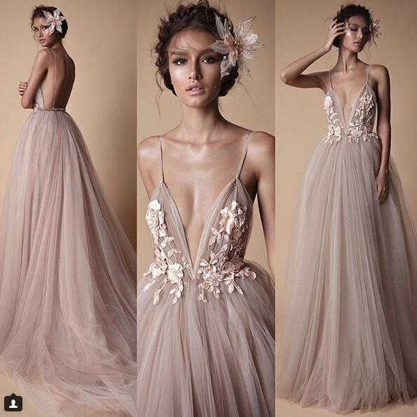 2018 BERTA Evening Wear Formal Dresses Champagne Tulle Lace Floral Spaghetti Sweep Train Backless Holiday Party Prom Dress