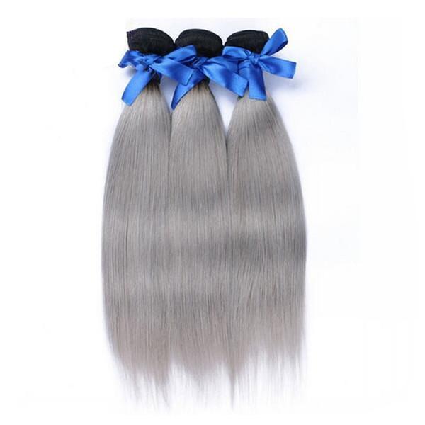 1b gris oscuro raíz ombre sedoso recto malaysian dos tonos extensiones de trama de cabello humano tejer tapa venta gris ombre pelo 10-30 pulgadas