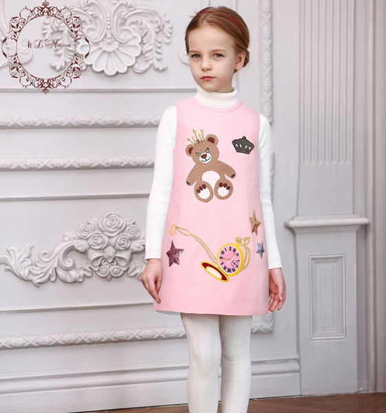 Baby Girl Dress 2016 Autumn Princess Dress Girl Robe Fille Enfant Sequin & Diamond Bear Pattern Kids Dresses for Girls Clothes