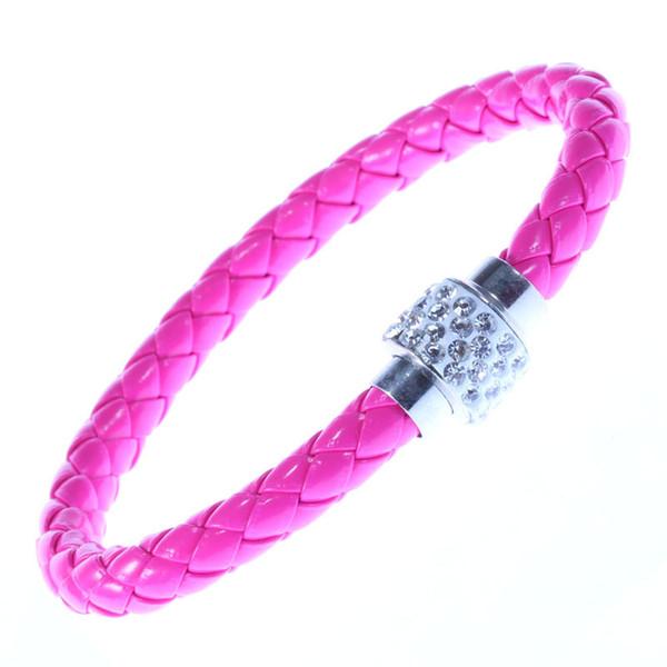 PU Leather Braided Bracelet Shamballa Crystal Bracelets Fashion Magnetic Clasp Bracelet Leather Braided Bracelet Jewelry Free Shipping