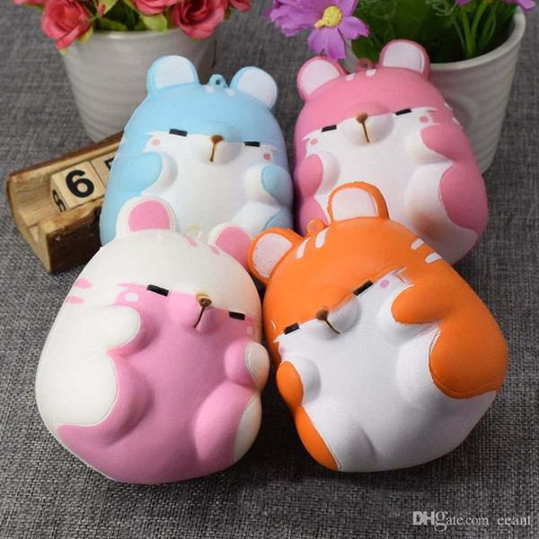 best selling Kawaii Soft Squishy Colorful Simulation Hamster Toy Slow Rising for Relieves Squishies Stress Anxiety Home Decoration