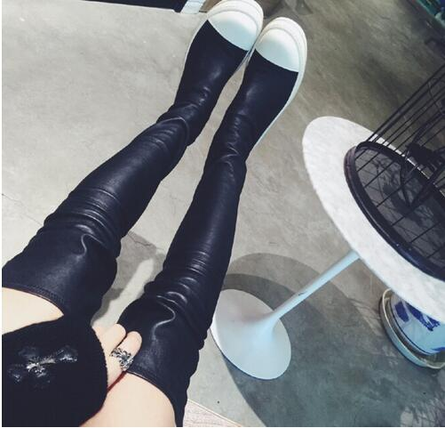 Sexy Ladies Slim Legs Stretch Cow Leather Thigh High Boots Patchwork Flat Thick Rubber Sole Slip on Over the Knee Runway Boots