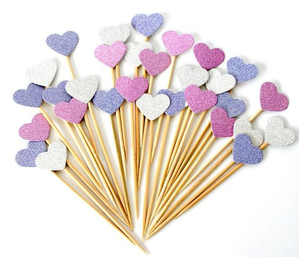 New Arrive Handmade Lovely Heart Cupcake Toppers,Girl baby shower decorations,Party Supplies Birthday Wedding Party Decoration