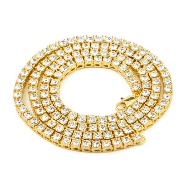 Женщины Мужчины Оптовая 18 К Позолоченные Bling 1 Строка Имитация Бриллиантовые Ожерелья Шарм Полный Горный Хрусталь Хип-Хоп Ювелирные Подарки Подарки Цепи