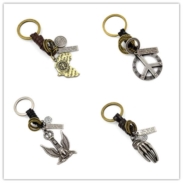 Mens Genuine Leather Weave Key Rings vintage Alloy Maple Leaf Map Ghost Hand Peace Symbol Eagle Pendant Key Chain For Men Jewelry Gifts
