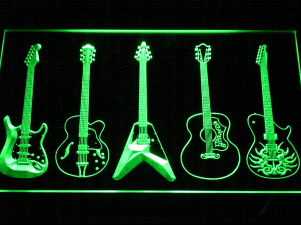c099 Guitar Weapons Band Room LED Neon Sign with On/Off Switch 7 Colors to choose Cheap light up sign