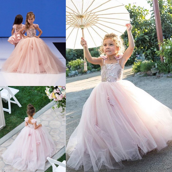 Flower Girls Dress For Wedding Pink Appliques 3D Floral Ball Gowns Tulle Spaghetti Sleeves Free Shipping Flower Girl Dresses For Sales