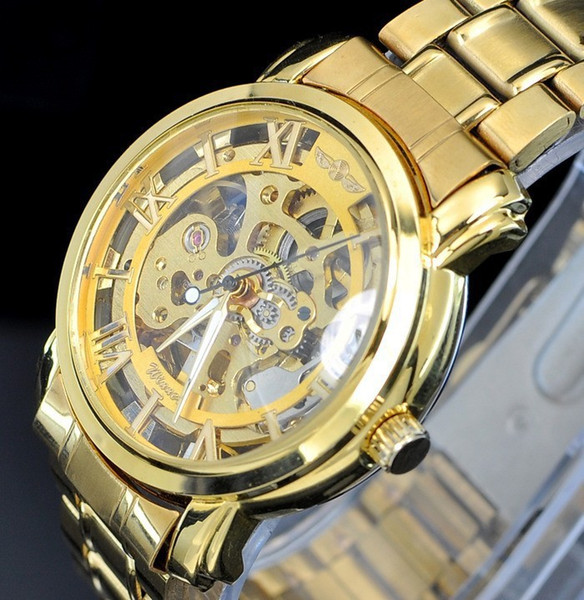Mens Gold Skeleton Steel Reloj mecánico automático Acero moda hombres / mujeres reloj ganador marca elegante diseño muñeca vestido esqueleto relojes regalo