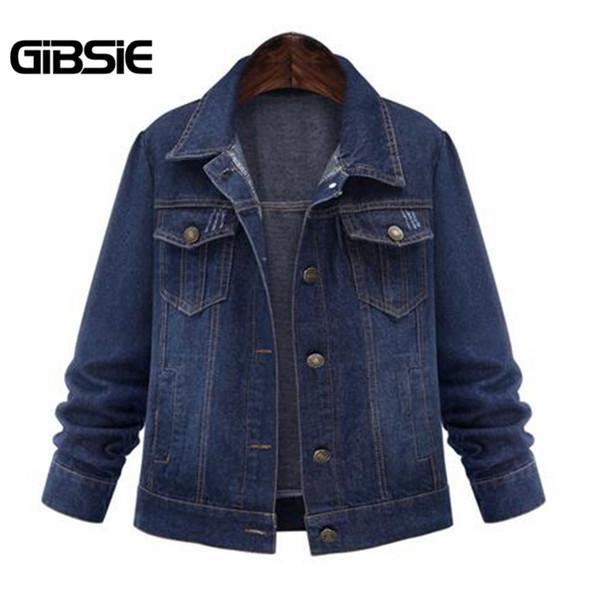 Wholesale- GIBSIE 5XL 4XL Denim Jacket Women Plus Size 2017 New Autumn Womens Vintage Turndown Collar Jeans Jackets Coats Casual Style