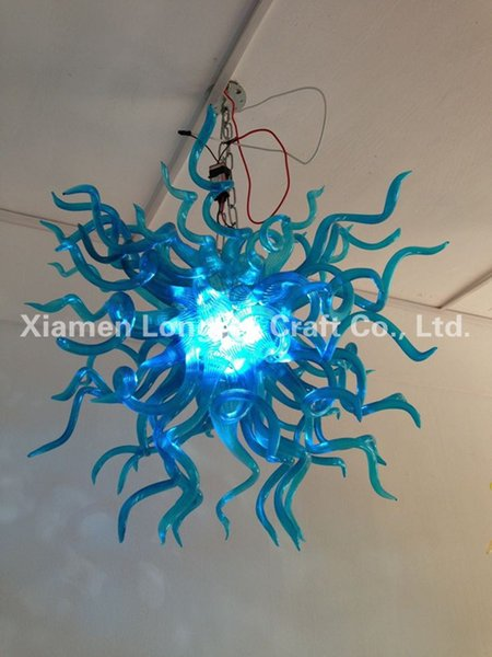 C66-Custom Decorative Hand Blown Murano Glass Chandelier Light Blue Borosilicate Glass Crystal Hanging LED Chandelier and Pendant Lamps