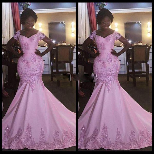 2017 free shipping Africa Saudi Arabia Pink Mermaid Prom Dresses Sexy Short Sleeves Evening Dresses Lace Appliques Beaded vestido de festa