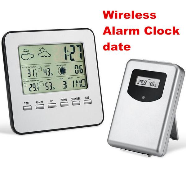 ЖК-беспроводной погодная станция цифровой крытый/открытый термометр гигрометр температуры и влажности метр дата будильник