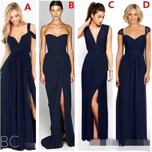 2020 Dark Navy Long Bridesmaid Dresses A Line Split Side with Different Styles Chiffon Maid of Honor Gowns Formal Wedding Guest Dress