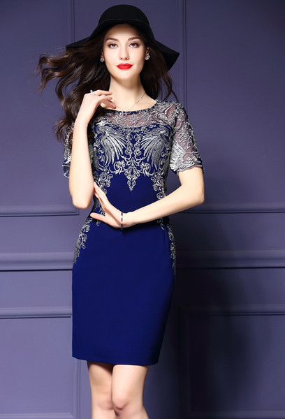 top popular women latest world fashion grace noble Vintage dresses skirt short sleeve Embroidery black purple high quality 2019