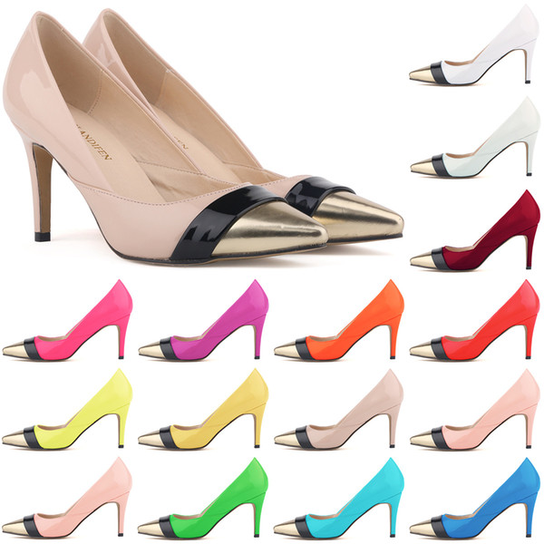 Sapatos Feminino Womens Pointed Toe Patent Pu Leather Heels Corset Style Work Pumps Court Shoes US 4-11 D0070