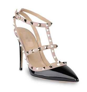 Nietpumpen reizvolle Schuhe Frauen-Pumpen-Absatz-Sandelholze verzierte Spitze-Spitzschuh-Ferse-Partei-Kleid-Schuhfarbe Größe 35-41