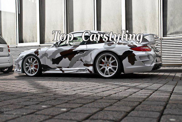 Marrone Bianco Nero Neve Camouflage Car wrap Film Camo Wrapping Vinile con Bubble Free Truck Body foil Sticker dimensioni 1.52x30m / Roll