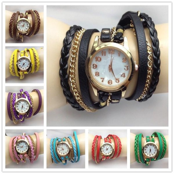2015 hot Infinity Bracelet Watch Quartz Watches Creative woven rope chain belt round bracelet watch Multilayer Bracelet